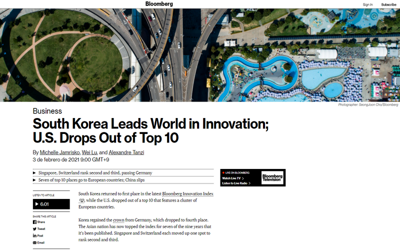 Screenshot von Korea an der Spitze des Bloomberg Innovation Index